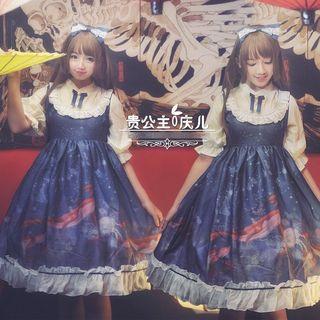 GOGO Girl - Mock Two-Piece Elbow-Sleeve A-Line Dress / Hairband