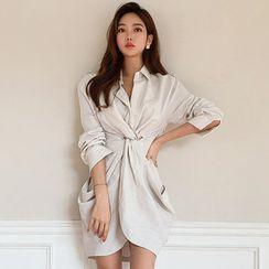 Hasu - Long-Sleeve Twist-Front Mini Sheath Shirtdress