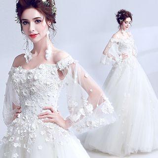 Angel Bridal - 露肩花朵装饰A字婚纱