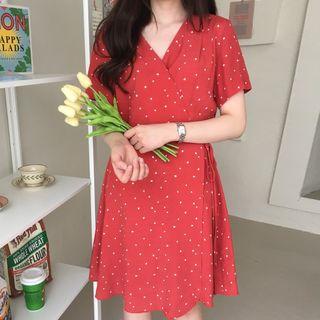 Aumoti - Heart Print Short-Sleeve A-Line Dress