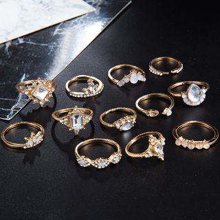 Yongge - Set of 12: Rhinestone Rings (Assorted Designs)