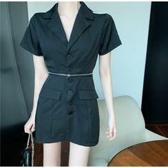 BBChic - Striped Zip Detail Short-Sleeve Mini Collared Dress