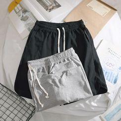 OSIGRANDI - 純色抽繩運動短褲