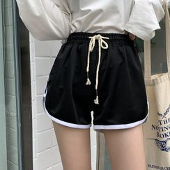 Moon City(ムーンシティ) - Contrast Trim Drawstring Shorts