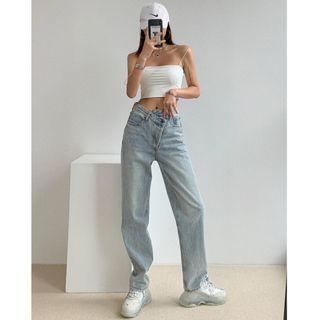 Shira - Asymmetric High-Waist Straight Leg Jeans