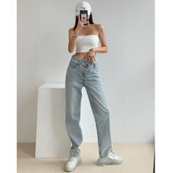 Shira - Asymmetric High-Waist Straight-Cut Jeans