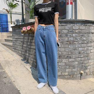 MERONGSHOP - Colored Wide-Leg Cotton / Denim Pants