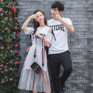 NoonSun - Couple Matching Lettering Short-Sleeve T-Shirt / T-Shirt Dress / Mesh Midi Skirt / Set