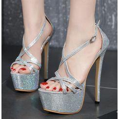 Niuna - Rhinestone Strappy High-Heel Sandals