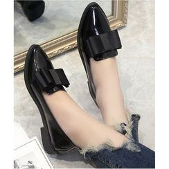 Belbie - Patent Bow Accent Slip On Loafers