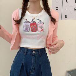 SUGARUS - Long-Sleeve Drink Print T-Shirt / Cropped Cardigan