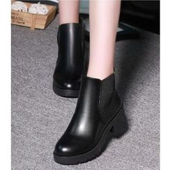 Belbie - Faux Leather Elastic Panel Block Heel Ankle Boots