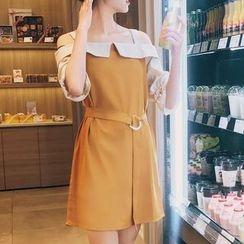 Ashlee - Off-Shoulder Elbow-Sleeve A-Line Dress