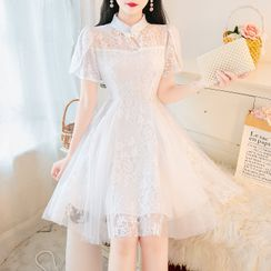 Petit Lace - Short-Sleeve Stand Collar Embroidered Mesh Panel A-Line Dress
