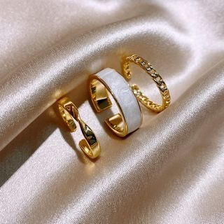 Golicc - Set of 3: Alloy Open Ring (assorted designs)