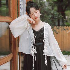 sansweet - Frill Trim Puff-Sleeve Chiffon Light Jacket
