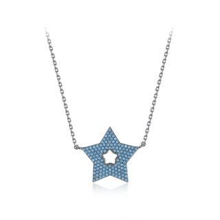 BELEC - Fashion Simple Plated Black Star Necklace with Blue Cubic Zirconia