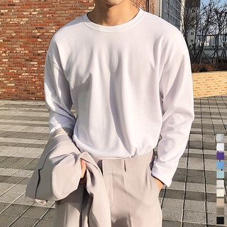 Seoul Homme - Crew-Neck Long-Sleeve T-Shirt in 10 Colors
