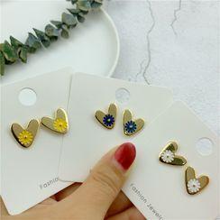 Kiksuya - Alloy Heart & Flower Earring