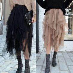 Juuri - Layered Midi Mesh Skirt