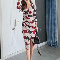 Yilda - 图案长袖塑身连衣中裙