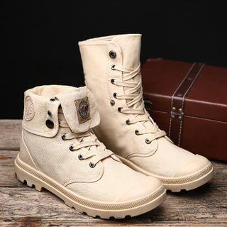 Yeesteps - Platform Lace Up Short Boots