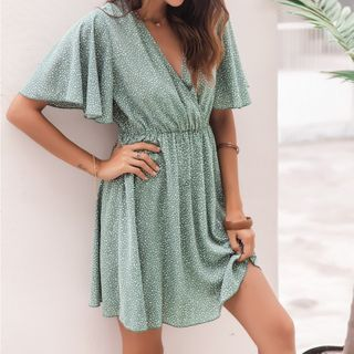 Miss Kani - Bell-Sleeve Dotted Mini A-Line Dress