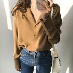Midoray - Long-Sleeve Open-Collar Chiffon Shirt