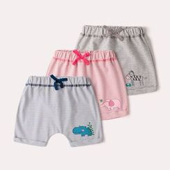 DuduBaby - Baby Cartoon Printed Striped Shorts