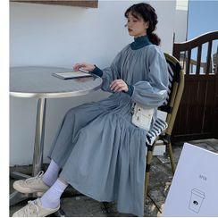 Whoosh - Turtleneck Long-Sleeve T-Shirt / Lantern-Sleeve Midi Shift Dress