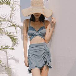 Hughiya - Set: Ruffled Drawstring Bikini + Swim Skirt
