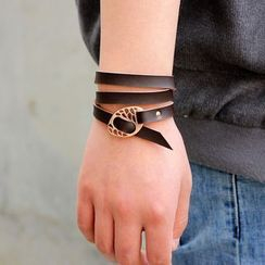 KINNO - Perforated Alloy Disc Genuine Leather Bracelet