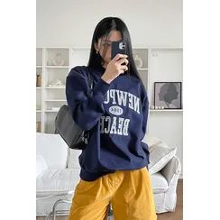 SIMPLY MOOD - COUPLE Letter-Embroidered Sweatshirt