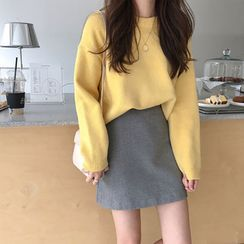 MIKIGA - Round Neck Plain Sweater
