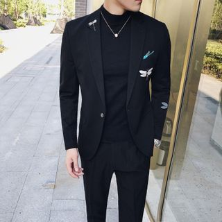 Blueforce - Set: Embroidered Button-Up Blazer + Dress Pants