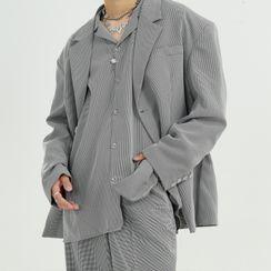 FAERIS - Striped Blazer / Shirt / Wide Leg Pants