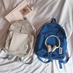 Anna Momo - Plain Backpack with  Canvas Applique