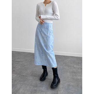 PPGIRL(PPガール) - Slit-Back Melange Skirt
