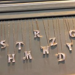 BURMASTIN - 925 Sterling Silver Alphabet Pendant Necklace