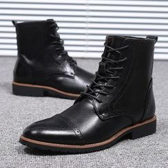Taragan - Faux Leather Brogue Short Boots