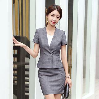 Princess Min - Short-Sleeve Blazer / Mini Pencil Skirt / Dress Pants / Set