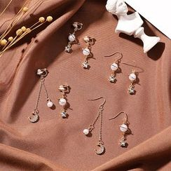 Coolgirl - Asymmetrical Faux Pearl Rhinestone Moon & Star Drop Earring