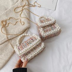 Trendy Spot - Faux Pearl Tweed Crossbody Bag