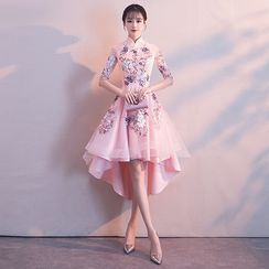 Ferim - Mandarin Collar Embroidered A-Line Cocktail Dress / Evening Gown