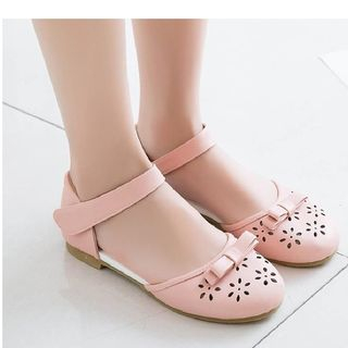 Freesia(フリージア) - Perforated Faux Leather Strapped Flats