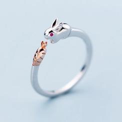 A'ROCH - 925纯银小兔及红萝卜开口戒指
