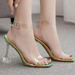 Niuna - Square Toe PVC Strap High Heel Sandals