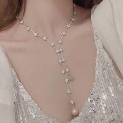 Ticoo - Faux Pearl Rhinestone Y Necklace