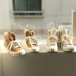 BBAEBBAE - Corduroy-Panel Fleece-Lined High-Top Sneakers