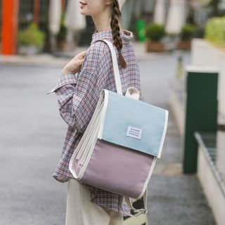 Willow Bloom - Square Color Block  Canvas Backpack